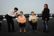Roma 15/11/09 seconda puntata di GRAZIE A TUTTI, nella foto Gianni Morandi e la zia più Al Bano