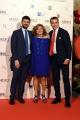 14/10/2016 Firenze presentazione della fiction di rai uno I Medici, red carpet, nella foto Matilde Bernabei con Luca bernabei ed il direttore di rai uno Andrea Fabiano