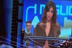 19/01/2013 Roma trasmissione rai I MIGLIORI ANNI, nella foto: Carlo Conti in collegamento con Pamela Camassa
