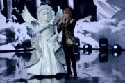 Foto/IPP/Gioia BotteghiRoma 10/01/2019 nuovo programma di Rai uno Il cantante mascherato, nella foto , l'angelo con Milly CarlucciItaly Photo Press - World Copyright