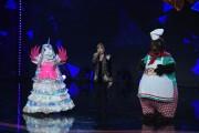 Foto/IPP/Gioia BotteghiRoma 10/01/2019 nuovo programma di Rai uno Il cantante mascherato, nella foto , il pavone con Milly Calucci con l'unicorno ed il mastinoItaly Photo Press - World Copyright