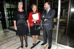 07/11/2013 Roma presentazione del programma rai IL TEMPO E LA STORIA, nella foto : Massimo Bernardini ed Elena Calandrelli , il presidente Tarantola