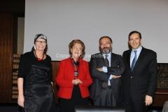 07/11/2013 Roma presentazione del programma rai IL TEMPO E LA STORIA, nella foto : Massimo Bernardini ed Elena Calandrelli , il presidente Tarantola, Gubitosi