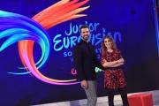 20/11/2016 Roma Junior Eurovision_ Rai Gulp, nella foto i due conduttori Laura Carusino e Simone Lijoi