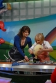13/1/09 Roma Trasmissione di raiuno LA PROVA DEL CUOCO nella foto la nuova conduttrice che ha preso il posto di Antonella Clerici: Elisa Isoardi con Anna Moroni