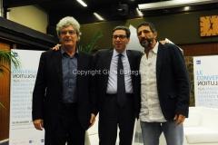 15/06/2015 Roma prima serata de LE CONVERSAZIONI rai, nella foto:Mario Martone, Antonio Franchini,con il conduttore Davide Azzolini