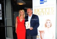 16/06/2015 Roma presentazione del libro ERI, Ricette D'Autore , nella foto L'autrice Federica De Denaro, Oscar Farinetti