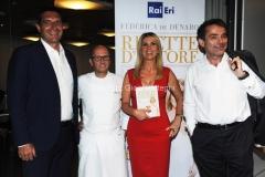16/06/2015 Roma presentazione del libro ERI, Ricette D'Autore , nella foto L'autrice Federica De Denaro, Duilio Giammaria, Luigi De Siervo e Heinz Beck