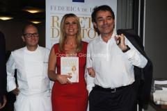 16/06/2015 Roma presentazione del libro ERI, Ricette D'Autore , nella foto L'autrice Federica De Denaro, Duilio Giammaria e Heinz Beck