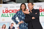 Foto/IPP/Gioia Botteghi Roma 12/10/2020 Photocall del film Lockdown all'italiana, nella foto: Romina Pierdomenico con Ezio Greggio  Italy Photo Press - World Copyright
