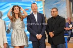 19/09/2015 Roma Mezzogiorno in famiglia, nella foto: Amadeus, Alessia Ventura, Sergio Friscia