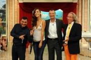 29/09/2012 Roma prima puntata di Mazzogiorno in Famiglia, nella foto : Amedeus, Laura Barriales, Sergio Friscia, il maestro Mazza