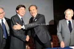 Roma 22/12/2010 conferenza stampa in rai su San Remo, nella foto: Paolo Garimberti, Gianni Morandi, Mauro Masi