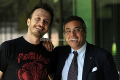 05/05/2014 Roma presentazione del nuovo programma di raitre NEMICO PUBBLICO_LIVE, nella foto il conduttore Giorgio Montanini ed il direttore di raitre Andrea Vianello