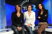 Roma 21/05/2010 Nuovi studi del tg3 a partire dal 24/5/2010, nella foto Bianca Berlinguer Direttore con Floriana Bertelli e Maria Cuffaro conduttrici dell'edizione delle 19;00