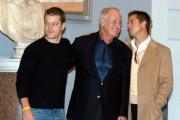conferenza stampa del film Ocean's twelve.Matt Damon Brad Pitt ed il produttore Jerry Weintraub