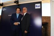 Roma 16/06/2010 Presentazione a castel Sant'Angelo dei palinsesti rai 2010_2011, nella foto Mauro Mazza e Massimo Ranieri