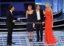 19/09/2012 Roma trasmissione rai PER TUTTA LA VITA prima puntata, nella foto: Emanuele Filiberto e Clotilde Courau e N. Stefanenko e F. Frizzi