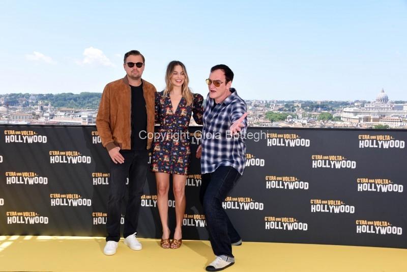 Foto/IPP/Gioia Botteghi Roma 03/08/2019 Photocall del film C era una volta Hollywood  nella foto: il regista Quentin Tarantino, Margot Robbie, Leonardo Di Caprio Italy Photo Press - World Copyright