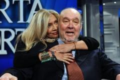 04/02/2014 Roma puntata di porta a porta sui 60 anni della televisione, nella foto: Mara Venier e Giampiero Galeazzi