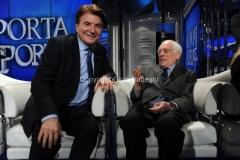 04/02/2014 Roma puntata di porta a porta sui 60 anni della televisione, nella foto: Paolo Limiti e Angelo Guglielmi
