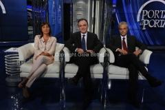 10/10/2012 Roma trasmissione porta a porta, nella foto: Renata Polverini, Enrico Rossi, Giovanni Chiodi