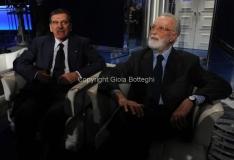 24/01/2013 Roma Porta a porta puntata su Agnelli, nella foto Eugenio Scalfari con Giorgio Benvenuto