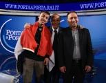 Foto/IPP/Gioia Botteghi Roma 25/03/2019 Puntata di Porta a porta con il piccolo eroe Egiziano , nella foto: Ramy Shehata con il padre Khalid e Bruno Vespa Italy Photo Press - World Copyright