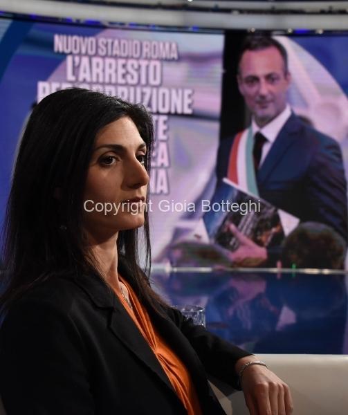 Foto/IPP/Gioia Botteghi Roma 20/03/2019 Porta a porta rai uno, ospite Virginia Raggi Italy Photo Press - World Copyright