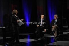 28/03/2011 Roma prima puntata della trasmissione di raitre POTERE, condotta da Lucia Annunziata, nella foto i due ospiti Giannantonio Stella e Sergio Rizzo