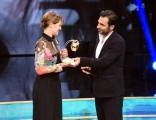 Foto/IPP/Gioia Botteghi 15/06/2018 Roma,  premio Marisa Bellisario 30 anni , nella foto Paola Cortellesi premiata da Edoardo Leo  Italy Photo Press - World Copyright