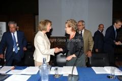 18/07/2013 Roma Conferenza stampa Prix Italia Rai, nella foto Annamaria Tarantola e Giovanna Milella