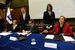 29/3/2012 Roma presentazione di Rai Scuola, nella foto: il ministro Profumo, Lorenza Lei, Silvia Calandrella