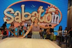 17/10/2015 Roma prima puntata della trasmissione SABATO IN, nella foto i due conduttori Ingrid Muccitelli e Tiberio Timperi