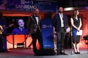 09/02/2017 Roma trasmissione su radiouno Sanremo da pecora nella foto Geppi Cucciari e Girgio Lauro con Andrea Romano