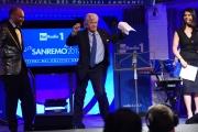 09/02/2017 Roma trasmissione su radiouno Sanremo da pecora nella foto Geppi Cucciari e Girgio Lauro con Antonio Razzi