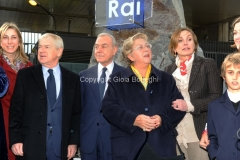 16/12/2011 Roma, Presentazione della targa dedicata a Biagio Agnes nella sede rai di Saxa Rubra, nella foto Rosella Agnes, Garimberti, Lei, Letta,