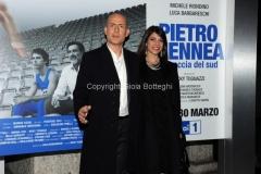 20/03/2015 Roma serata al coni per la presentazione della fiction di raiuno Pietro Mennea, nella foto: Gianmarco Tognazzi con la moglie