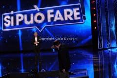 02/05/2014 Roma prima puntata di SI PUO' FARE, raiuno, nella foto Carlo Conti con il direttore di raiuno Giancarlo Leone