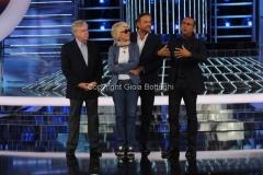 12/09/2014 Roma puntata di Tale e Quale show, nella foto: Carlo Conti con la giuria Claudio Lippi, Loretta Goggi, Christian De Sica
