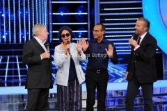 21/09/2012 Roma trasmissione rai Tali e Quali Show, nella foto Carlo Conti con la giuria Christian De Sica, Loretta Goggi, Claudio Lippi