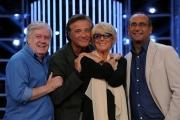 11/09/2013 Roma presentazione della trasmissione Tali e Quali, nella foto la giuria Loretta Goggi Claudio Lippi, Christian De Sica con Carlo Conti