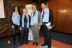 14/12/2010 Roma Conferenza stampa di presentazione in rai per il Telethon, nella foto il presidente della rai Paolo Garimberti e Luca di Montezemolo, Presidente Telethon, Fabrizio Frizzi, Maria Grazia Cucinotta