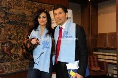14/12/2010 Roma Conferenza stampa di presentazione in rai per il Telethon, nella foto Fabrizio Frizzi, Maria Grazia Cucinotta
