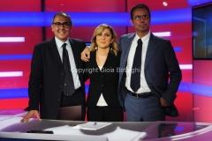31/07/2014 Roma Il nuovo studio del tgr lazio digitale, nella foto la giornalista Isabella di Chio, il direttore Vincenzo Morgante e il caporedattore Nicola Rao